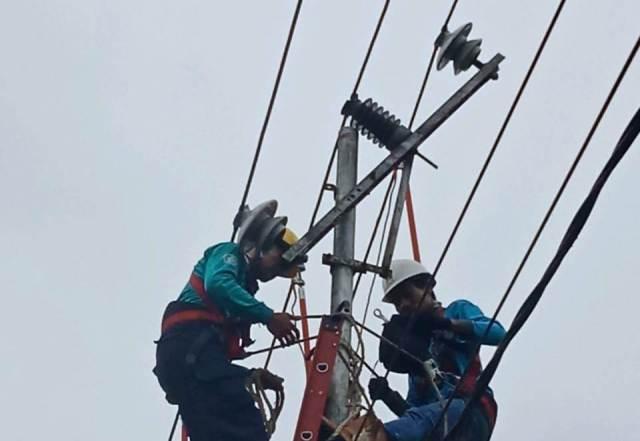 Petugas PLN (Persero) UP3 Tarakan melakukan perbaikan jaringan di Jalan Slamet Riadi, Kamis (29/10/2020). (foto: Dok PLN (Persero) UP3 Tarakan)