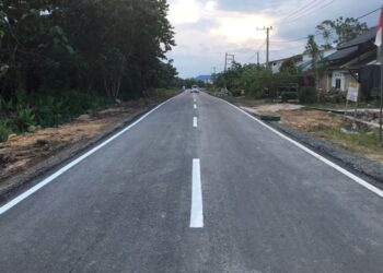 Kondisi jalan menuju Bapelkes Bulungan, yang didanai APBD Kaltara 2020 pasca tuntas diaspal 100 persen. (Humas Provinsi Kaltara)