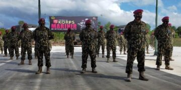 Danyonmarhanlan XIII Tarakan Letkol Marinir Parison Renaldo Siregar memimpin pasukannya mengikuti upacara HUT Korps Marinir ke-75 secara virtual. (foto: jendelakaltara.co)