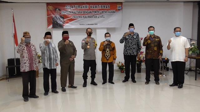 Tokoh lintas agama bersama FKUB Kaltara hadir dalam kegiatan silaturrahmi yang digagas Polda Kaltara di Hotel Lotus Panaya, Senin (23/11/2020). (foto: istimewa)