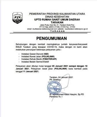 Pengumuman penutupan lagi pelayanan kesehatan di RSUD Tarakan. (foto: istimewa)