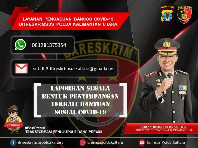 Polda Kaltara buka hotline pengaduan terkait penyalahgunaan bansos. (foto: Humas Polda Kaltara)
