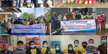 Penyerahan bantuan dari FIFGROUP kepada warga terdampak banjir di Provinsi Kalimantan Selatan. (foto: FIFGROUP)