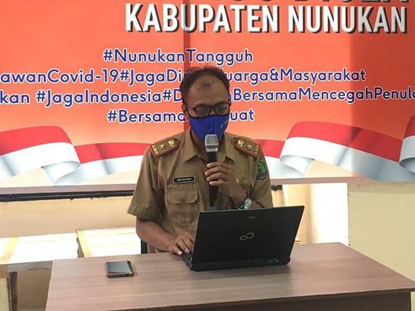 Juru Bicara Satuan Satgas Percepatan dan Penanganan Covid-19 Nunukan, Aris Suyono. (foto: Hasanuddin/jendelakaltara.co)