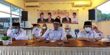 Konferensi pers DPD Partai Gerindra Kaltara di Tarakan dalam rangka HUT ke 13 Partai Gerindra, Jumat (5/2/2021).
