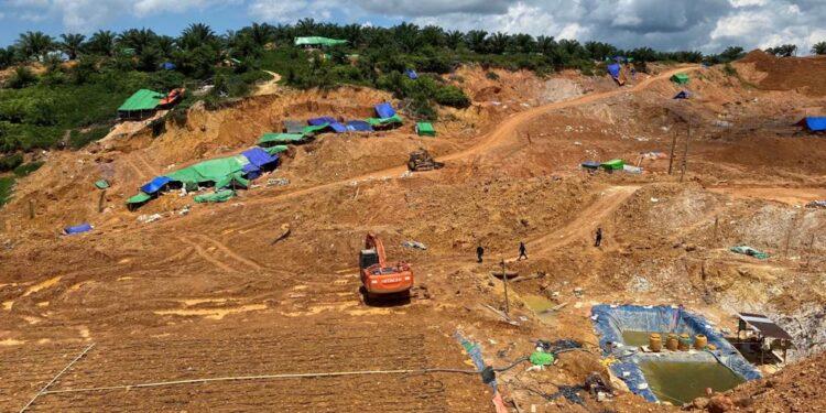 Lokasi penambagan emas ilegal di Sekatak Buji, Kabupaten Bulungan. (foto: Humas Polda Kaltara)