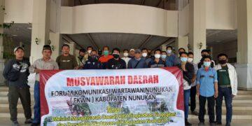 Sejumlah awak media di Nunukan membentuk Forum Komunikasi Wartawan Nunukan (PKWN), Minggu (21/2/2021). (foto: Hasanuddin)
