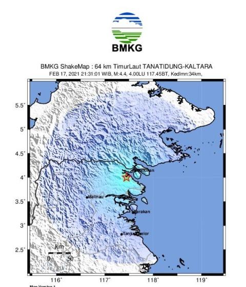 Titik lokasi gempa bumi magnitudo 4,4 dilihat dari peta. (foto: BMKG)