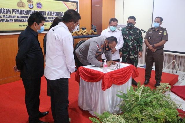 Kegiatan pencanangan Zona Integritas WBK  dan WBBM di Rupatama Mako Polres Malinau, Rabu (24/2/2021). (foto: Humas Polres Malinau)