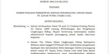 SK Bupati Malinau yang yang memberikan sanksi bagi PT. KPUC. (foto: Istimewa)