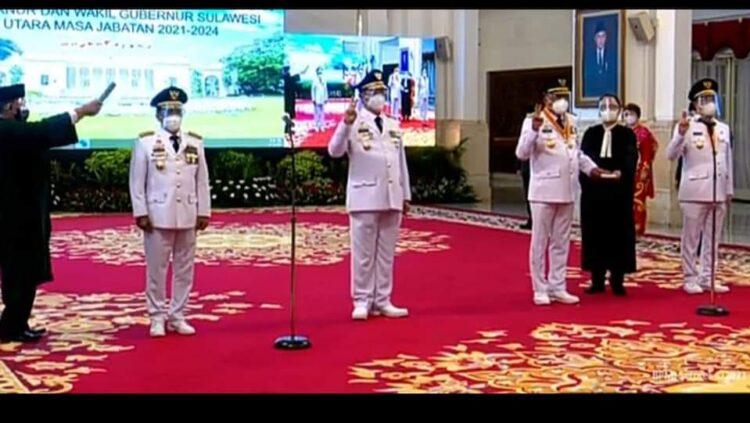 Gubernud dan Wakil Gubernur Kaltara rs. H. Zainal Arifin Paliwang SH, M.Hum dan Dr. Yansen Tipa Padan M.Si dilantik di Istana Negara Jakarta, Senin (15/2/2021). (foto: Istimewa)