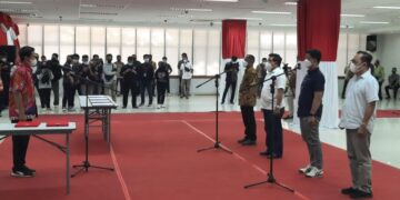 Gladi bersih pelantikan Bupati dan Wakil Bupati Bulungan dan KTT di Kantor Gabungan Dinas (Gadis) Provinsi Kaltara, Tanjung Selor, Kamis (25/2/2021). (foto: Diskominfo Provinsi Kaltara)