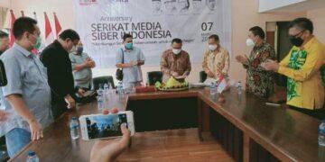 Peringatan HUT ke-4 SMSI secara sederhana di di Gedung SMSI Jakarta Press Club Jalan Veteran II 7C, Jakarta Pusat, hari Minggu (7/3/2021). (foto: SMSI Pusat)