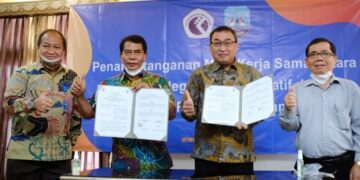 Gubernur Kaltara H. Zainal Arifin Paliwang bersama Direktur Poltek Negeri Media Kreatif di Jakarta, Kamis (4/3/2021). (foto: Diskominfo Provinsi Kaltara)