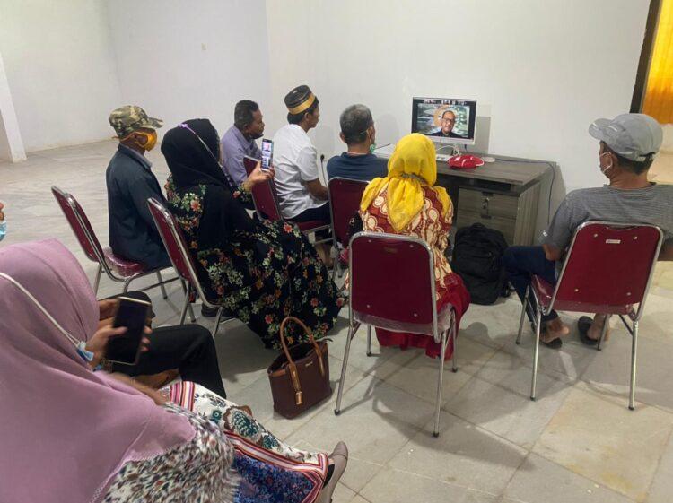 Perwakilan warga Pantai Amal dan Kampung Bugis mengikuti audiensi secara daring dengan BAP DPD-RI, Rabu (17/3/2021). (foto: Tim HB)