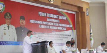 Plt Bupati Malinau Topan Amrullah menyampaikan arahannya pada kegiatan Forum Perangkat Daerah, Rabu (3/3/2021). (foto: Istimewa)