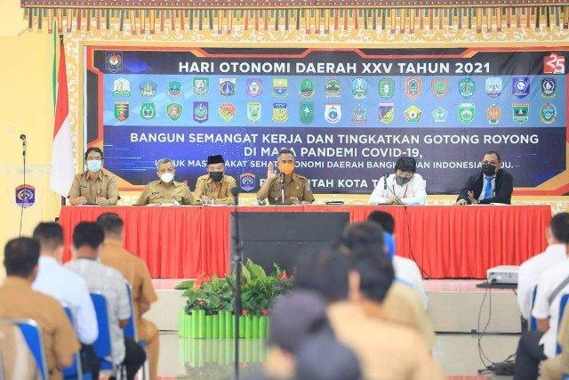 Wali Kota Tarakan dr. H. Khairul M.Kes memimpin rapat koordinasi tentang e-parkir,  pajak penerangan jalan dan PBB di gedung Serbaguna Kantor Wali Kota Tarakan, Senin (25/4/2021). (foto: Bagian Protokol dan Komunikasi Pimpinan Setda Tarakan)