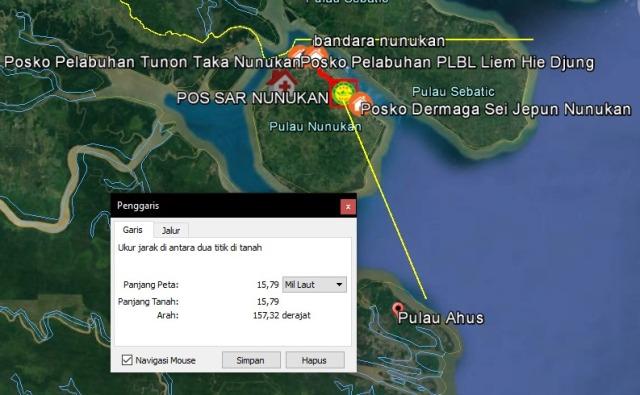 Peta lokasi diduga ketinting berpenumpang 4 orang hilang kontak di Pulau Ahus, Kabupaten Nunukan. (foto: Kantor Pencarian dan Pertolongan Tarakan)