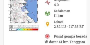 Peta lokasi gempabumi magnitudo 4.0 yang guncang Bulungan. (foto: BMKG)