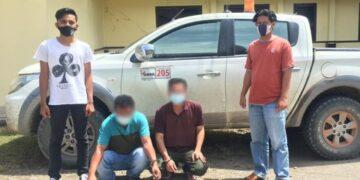 Oknum karyawan perusahaan batubara diamankan di Mako Polres Malinau bersama barang bukti. (foto: Humas Polres Malinau)